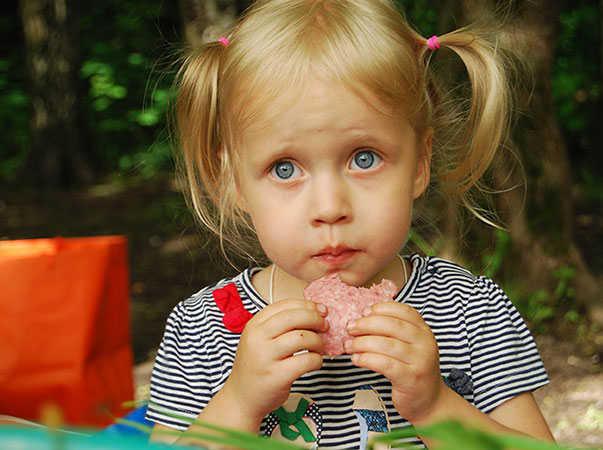 little girl with huge blue eyes